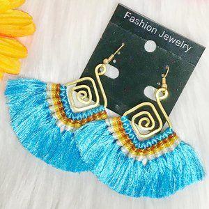 Boho Earrings Fan Tassel Hoop Drop Dangles Blue